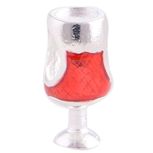General Gifts - Charms / Beads Coppa di Vino in Argento Sterling 925 e smalto Rosso per Pandora, Biagi, Chamilia, Troll e altri Bracciali