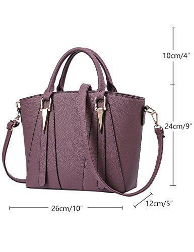 Menschewear Ladies Pu Borse Ladies Handbag Black Handbag School Ladies Borse Red-vienna Purple