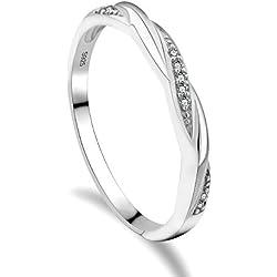 GULICX Mujer Plata de ley (925/1000) plata redondo blanco incoloro circonita