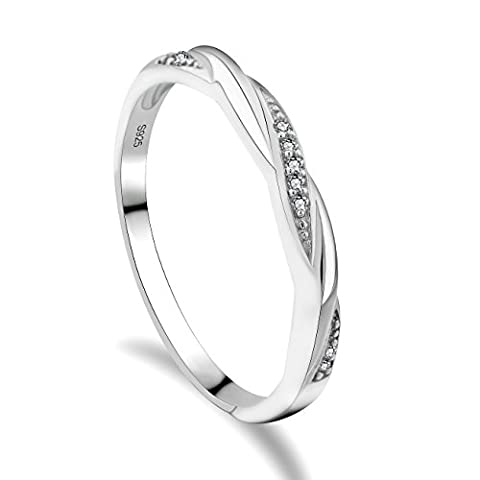 GULICX Skinny 925 Sterling Silver & Cubic Zirconia CZ Wedding Promise Eternity Ring Sizes K,L 1/2,O,Q,S,U,W (P 1/2)