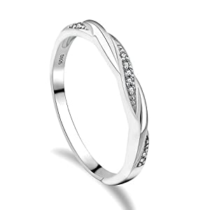 GULICX Hochzeitsringe 925 Sterling Silber Rund Weiß Kristall Zirkonia CZ Schlank Kreuz Band Ring