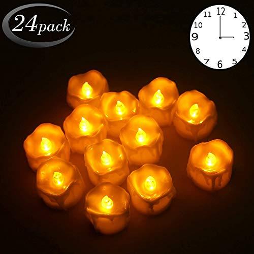 24er Led Teelichter mit timer Flammenlose Kerzen Flackernd Batteriebetriebene LED kerzen Teelichtern für Weihnachtsbaum, Hochzeit
