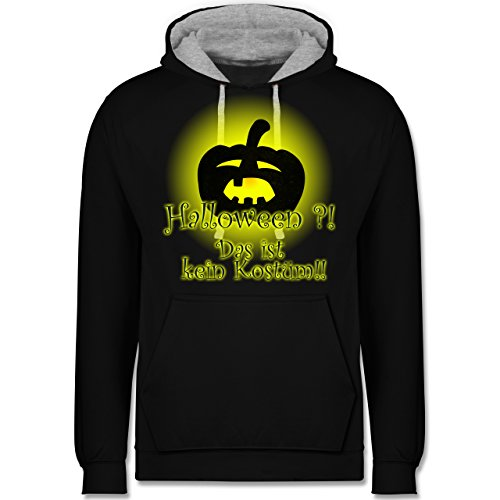 Halloween - Kein Halloweenkostüm - Kontrast Hoodie Schwarz/Grau Meliert
