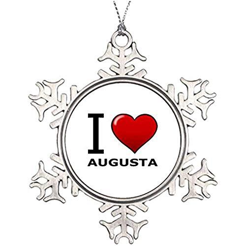 Diuangfoong Dekofigur Weihnachtsbäume I Love Augusta Ga Georgia Schneeflocke I Love Georgia -