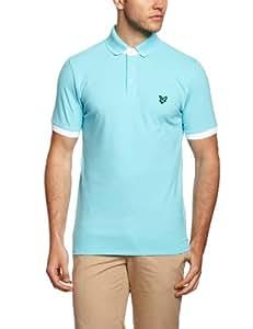 Club Green Eagle Men's Short Sleeve Button Down Collar Polo T Shirt - Aqua, Large