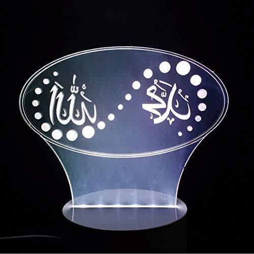 Lifme 3D Farbstimmung Led Islam Lampe Gott Allah Segnen Koran Arabisch Form Luminary Tisch Schreibtisch Nachtlicht Usb Schlaf Beleuchtung Urlaub Geschenke