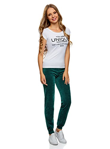 oodji Ultra Donna Pantaloni Sportivi con Laccetti Verde (6E00N)