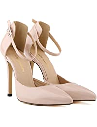 MEI&S La mujer Toe puntiagudas boca superficial Prom Stiletto High Heels Boda Corte bombas zapatos