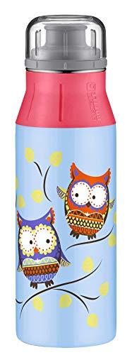 alfi 5357.115.060 Trinkflasche elementBottle, Edelstahl Eule Blau 0,6 l, Spülmaschinenfest, BPA-Free