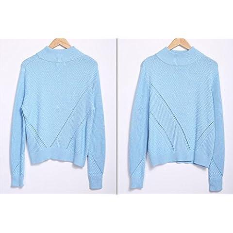 HUA De las mujeres jersey de punto que basa la camisa , blue , m