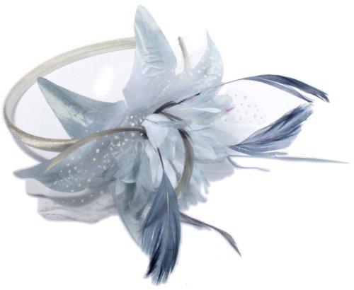 NEW Mesdames mariée en satin étroit bande Alice avec Bibi avec plume et fleur. Disponible en rose, gris, crème et noir couleurs. (Gris)