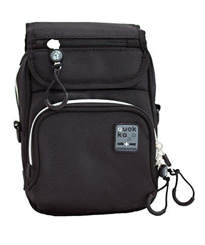 Quokka Vertical Bag schwarz - Tasche für Rollstuhl, Rollator, Scooter, Fahrrad, Elektro-Rollstuhl, Wetterfest, Stoßfest mit Magnetverschluss und kontrastreicher Innenauskleidung (Fahrrad Vertical)