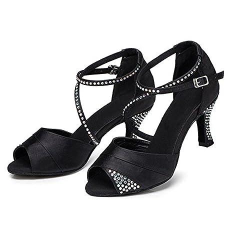 frau lateinisch tanzen sandalen satin diamant leder tango salsa samba tango ballsaal offener zeh weich wildleder sohlen schnalle high heels schwarz schuhe . c . 42