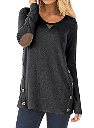 NICIAS Womens Side Buttons Long Sleeve Casual Crew Neck Elbow Patched Sweatshirt Loose T Shirt Blouses Tunic Tops(Black, Small)