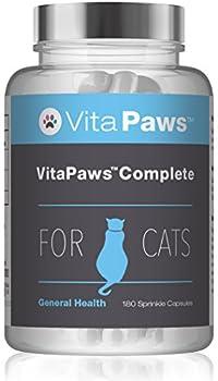 VitaPaws? Complete Multivitamines pour Chat, 180 Gélules - Support Polyvalent pour la Santé des Chats avec Vitamines, Minéraux et Acides Aminés, Fabriqué au Royaume-Uni