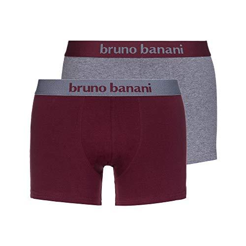 bruno banani Herren Short 2er Pack Flowing Boxershorts, Mehrfarbig (Weinrot//Graumelange 2733), Medium (Herstellergröße: M) (