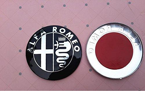 coppia stemma logo fregio alfa romeo 147 156 155 159 mito giulietta gt gtv nero argento. Black Bedroom Furniture Sets. Home Design Ideas