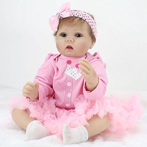 ZIYIUI Reborn Baby Puppe Weich Silikon Mädchen Lebensecht 22 Zoll 55cm Neugeborenen Puppe Baby Magnetisch Mund Augen Offnen Puppe Baby Spielzeuge