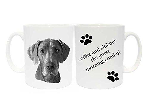 Tasse mit Deutsche-Dogge-Motiv, Geschenk mit 6verschiedenen Beschriftungen, englischer Text, keramik, coffee and slobber, the great morning combo! (Meine Einzige Tasse Kaffee)