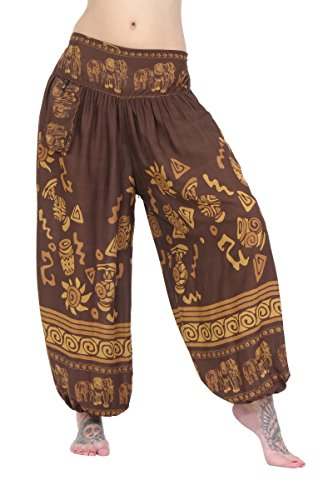 ThaiUK Damen Hose One Size Gr. One Size, Elephant Band Brown -