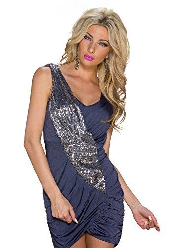 4106 Fashion4Young Damen Mini-Cocktailkleid mit Wickeloptik und Pailletten kleid Gr. 36 5 Farben Dunkelblau
