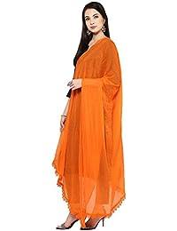 NE Women's Solid Orange Chiffon Dupatta With Lace