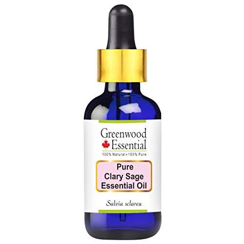 Greenwood Essential Pure Clary Sage Aceite esencial Salvia sclarea con vidrio con gotero 100% de grado...