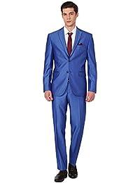 709ede68e0c Costume Homme Père pour Cérémonie de Mariage 2018 Couleur Unie Bleu Saphir  2 Pièces Veste Pantalons