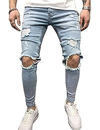 BMEIG Jeans Strappati Uomo Slim Fit Biker in Denim Distrutto Skinny  Distressed Design Classico Buco Rotto 446a33560b28