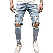 BMEIG Jeans Hombres Rotos Slim Fit Ripped Estiramiento Rodilla Destruido  Flaco Denim Apenado Biker Jeans Diseñador f1cf5535a94