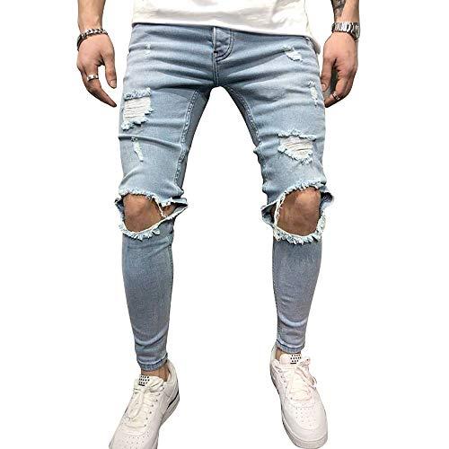BMEIG Jeans Strappati Uomo Slim Fit Biker Denim Distrutto Skinny Distressed Design Classico Buco Rotto Pantaloni Hiphop Lavoro Autunno Inverno M 3XL