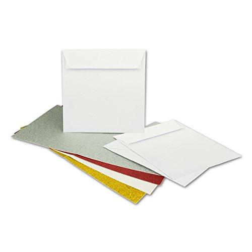 Kartenpaket quadratisch 15 x 15 cm | glitzernde Glimmer Faltkarten mit passenden Umschlägen | 8 Karten in 4 Farben mit 10 weißen Umschlägen | Metallic glitzernd gold, silber, weiß, rot
