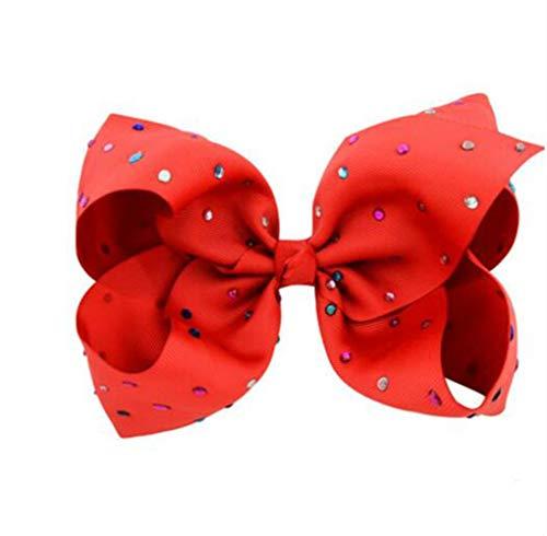 rolypolybaby Mädchen Kopf Accessoires Haarband Bunte Simulation Diamant Welle Punkt Mädchen Haarspange Kind Fliege Haarspangen (rot) -