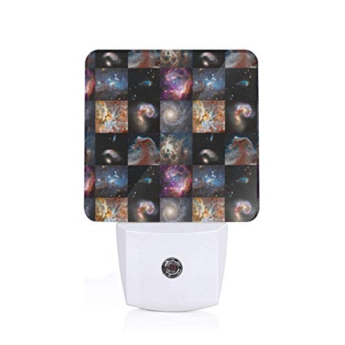 Led Night Light Galaxy Quilt Blocks (3 Inch Squares) Patchwork Cheater Quilt Auto Senor Dusk to Dawn Night Light Plug in for Baby, Kids, Children's Room -