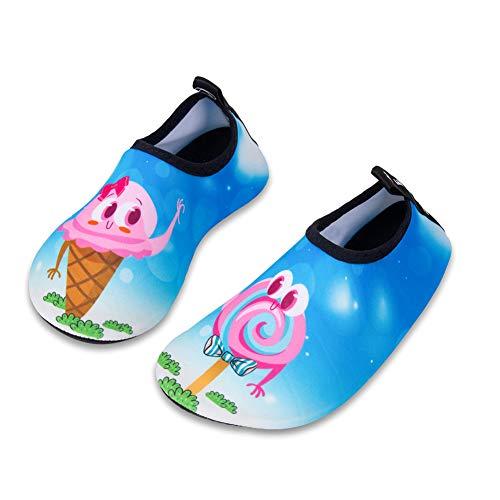 HMIYA Kinder Badeschuhe Wasserschuhe Strandschuhe Schwimmschuhe Aquaschuhe Surfschuhe Barfuss Schuh für Jungen Mädchen Kleinkind Beach Pool(Blau 22 23)
