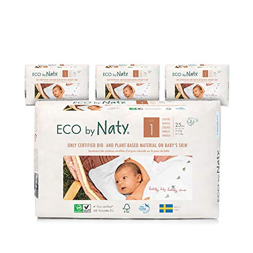 NATY by Nature Babycare 8178358B Eco by Naty Premium Bio-Windeln für empfindliche Haut, Größe 1, 2-5kg, 4 Packungen à 25 Stück (100 Stück insgesamt), weiß - 2