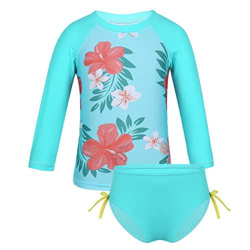 iixpin Baby Mädchen Schwimmanzug Badekleidung UV-Schutz Bademode Badeanzug Zweiteiler Tank Top mit Badeshorts Sport Blumen Bikini Gr.62-104 Cyan 92