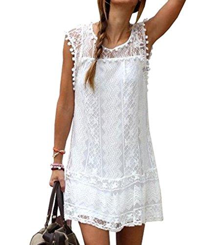 AIYUE Abito Donna Vestiti Estiti Senza Maniche Pizza Bianco Palla Bordado Allentato Vestito Corte Dress Femminile per Festa Ballo Partito(M)