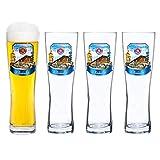 4er Set Paulaner Weizenbierglas - 0,5 Liter Bierglas mit Oktoberfest Dekor