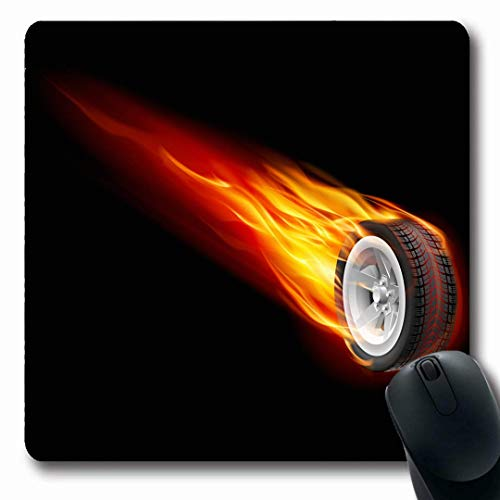 Luancrop Mousepads Burn Red Reifen-Feuerrad Black Disk Hot Rim Reifen White Road rutschfeste Gaming-Mausunterlage Gummi-Matte -