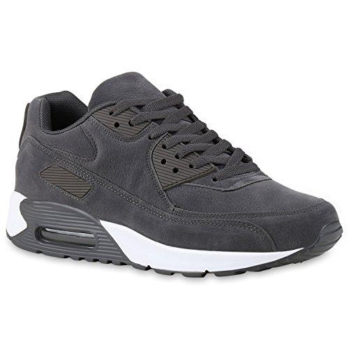 Herren Sportschuhe Leder-Optik | Sneakers Velours Glitzer | Metallic Runners | Freizeitschuhe Schnürer Grau Velours