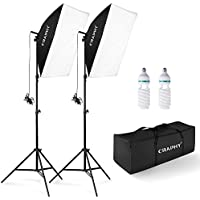 [UPGRADED] CRAPHY 700W Photo Studio Continuous Softbox Lighting Kit, Easy Pop-Up Photography Soft Box Lights with 2 Softboxes 50x70cm, 85W 5500K Light Bulbs, 2m Tall Light Stands and Carrying Bag for Video Blogging and Portrait