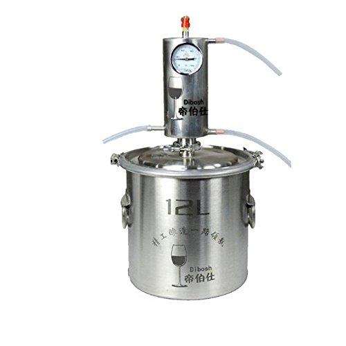 DIY 10~20 L Litro Nuevo CASA Alambique Destilador COBRE/Acero Inoxidable Destilación Enfriador Caldera Termómetro Whisky Alcohol Agua Esencial Aceite Preparación Kit
