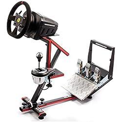 69DB - Wheel Stand Evo - Support universel pédalier, volant et boîte de vitesse pour simulateur de course e-Sport / e-Race sur PC / MAC et consoles - Noir et Rouge