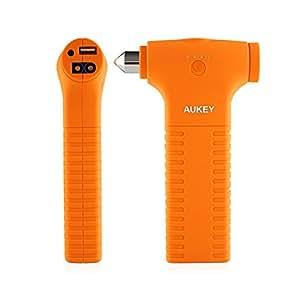 AUKEY Auto Starthilfe Externer Akku 12000mAh mit Auto Notfallhammer Gebilde, für Auto, Smartphone, Tablet und andere USB Geräte, EU Stecker (Orange)