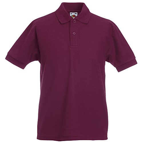 Fruit of the Loom Kids 65/35 pique polo Burgundy