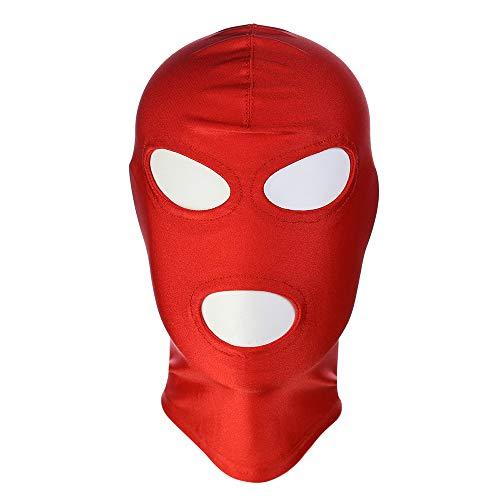 CLII Leder Stretch Maske offener Mund Tau Augenhaube, Bekleidungszubehör Verrückte Maske Rollenspiel Maskerade Maske Erotische (Kapuzen Maske)