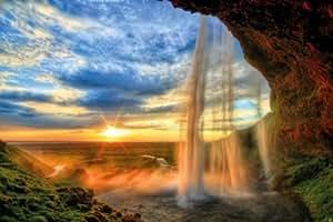 Cascata al tramonto - XXL quadro murale waterfall sunset by GREAT ART (210 x 140 cm)