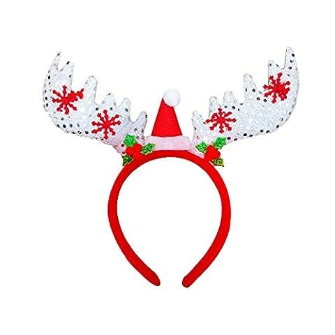 Weihnachten Kopfschmuck Haarbänder, Weihnachten Kopf Schnalle, Moon mood® Weihnachtsdekoration Christmas Decoration - Weihnachtsschmuck Pailletten Großen Geweih Kopf Schnalle Weihnachten Geweih Kopf Klemmen Elk Weihnachtsszene Weihnachten Commodity für Familie Versammlungen Abendessen Dekoration