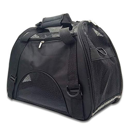 MAOSHE Pet Travel Carriers Soft Sided Tragetaschen Hunde Katzen Airline Approved Dog Carrier Bag (Color : Black, Size : M) (Dog Bag Carrier Medium)